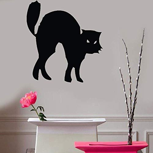Teadyi Removable Vinyl Mural Decal Quotes Art Hissing Black Cat Halloween -