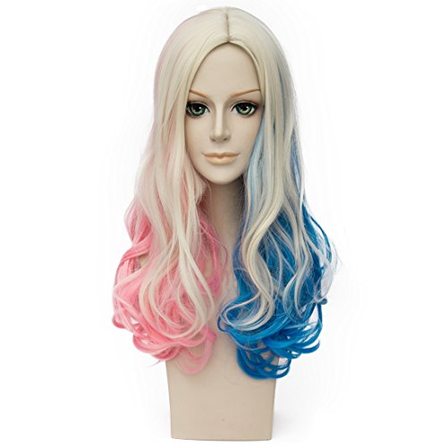 Price comparison product image Probeauty Movie with Blonde Wavy Curly Cosplay Wigs for Suicide Squad Harley Quinn Wig, Pink Blue