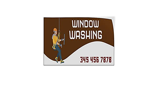 Custom Door Decals Vinyl Stickers Multiple Sizes Window Washing Phone Number Business Professional Window Cleaning Outdoor Luggage /& Bumper Stickers for Cars Brown 24X18Inches Set of 10