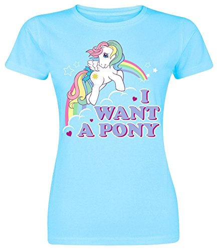 My little Pony Officially Licensed Merchandise MLP - I Want A Pony Girly Tee Himmelblau
