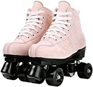 Teafor Womens Roller Skates Purple Classic Roller Skates High-top Double-Row Leather Outdoor Four Wheel Double