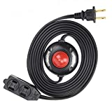 Electes 8 Feet 3 Outlet Extension Cord with Hand/Foot Switch and Light Indicator with Safety Twist-Lock, 16/2, Black - UL Listed