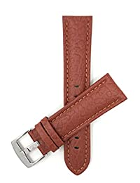 Extra Long (XL), 24mm Tan Classic Leather Buffalo Pattern Watch Strap Band, Black, Brown and Tan