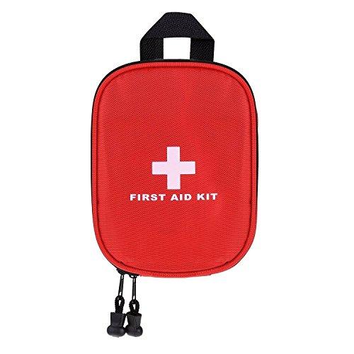fourHeart First Aid Kit Tragbar Kompakt Erste-Hilfe-Kit Medizinische Notfalltasche für Heim Reisen Camping Sport, Rot