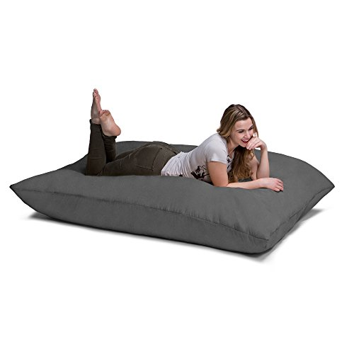 (Jaxx Pillow Saxx 5.5-Foot - Huge Bean Bag Floor Pillow and Lounger, Charcoal)
