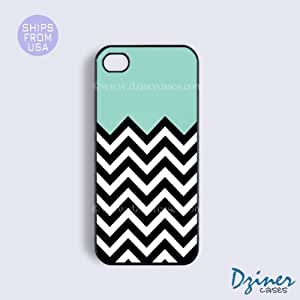 iPhone 4 4s Tough Case - Mint Black White Chevron iPhone Cover by Maris's Diary