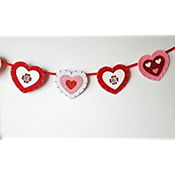 Valentine's Day Red and Pink Glitter Hearts Garland Banner