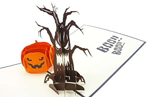 Adult Halloween Cards (PopLife Halloween Pumpkin & Tree 3D Pop Up Greeting Card - All Hallows Eve, Dios De La Muerte - Folds Flat, Perfect for Mailing - Day of the Dead Party Favor, Spooky Birthday)