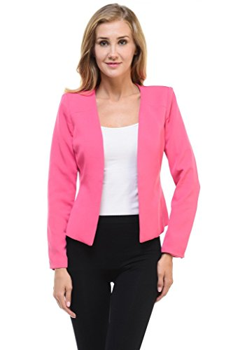 Auliné Collection Women's Candy Color Tailored Fit Open Suit Jacket Blazer Pink XL