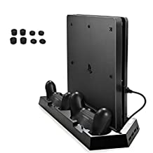 AGPtEK® Multi-Functional PS4 Cooling Stand, Upgraded PS4 Slim / PS4 Vertical Stand with Cooling Fan, Dual Cooler Controller Charger Charging Station & 3 Extra USB Ports - Black