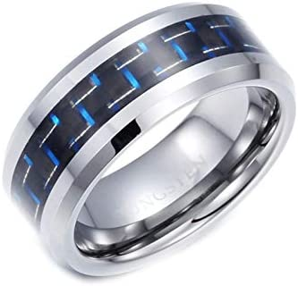 AmDxD Wolfram Stahl Herren Ringe Kohlefaser Heiratsantrag Ring Vertrauensring Wolframringe Silber