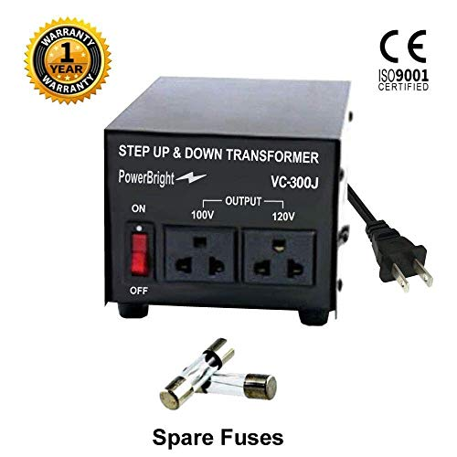 100v Output Transformer - PowerBright Step Up & Down Japan Transformer, Power ON/Off Switch, Can be Used in 120 Volt Countries and 100 Volt Countries, Convert from 120 Volt to 100 Volt and 100 Volt to 120 Volt (300W)