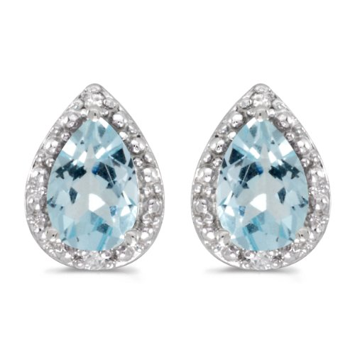Aquamarine Pear Earrings - 10k White Gold Pear Aquamarine And Diamond Earrings