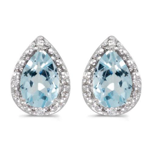 - 10k White Gold Pear Aquamarine And Diamond Earrings
