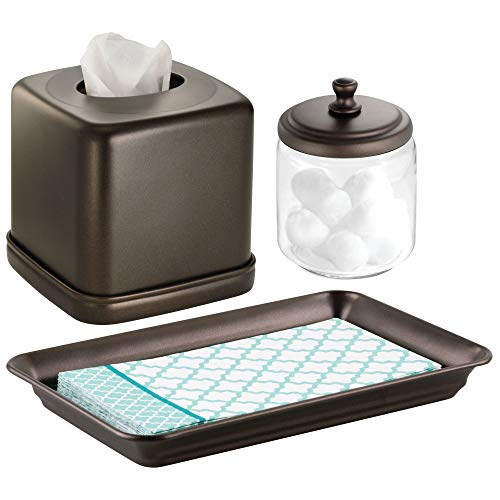 mDesign Metal Vanity Towel Tray, Facial Tissue Box Cover/Holder, Canister Jar for Cotton Balls, Swabs, Cosmetic Pads - Set of 3, Clear/Bronze