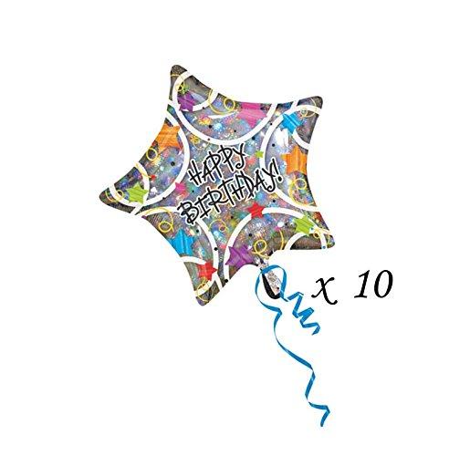 Anagram Mylar Balloons (LOT: 10 Anagram Balloons - Stars Happy Birthday - Foil Mylar 18