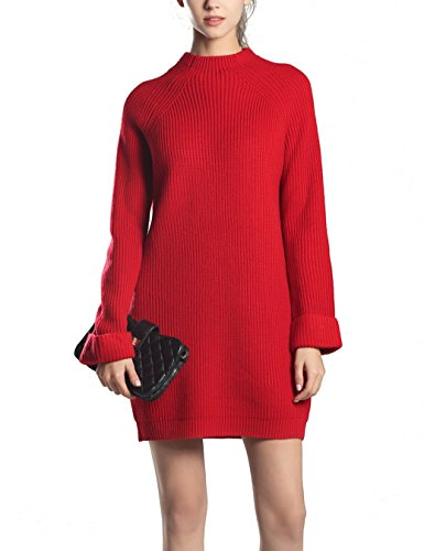 Choco Mocha Womens High Neck Ribbed Knit Sweater Dress for Fall Red