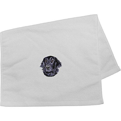 Cherrybrook Dog Breed Embroidered Anvil Hand Towel - White - Flat Coated ()
