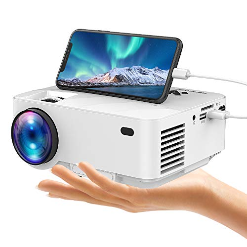 DBPOWER Mini Projector(Halloween Decorations) +50% Brightness, Connects Smartphones Tablets Via USB Cable, 176'' Display, 1080P/HDMI/VGA/USB/TV Box/Laptop/DVD/External Speaker Supported