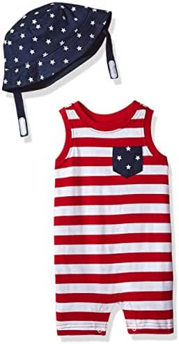 The Children's Place Baby Boys' Americana Romper and Hat Set
