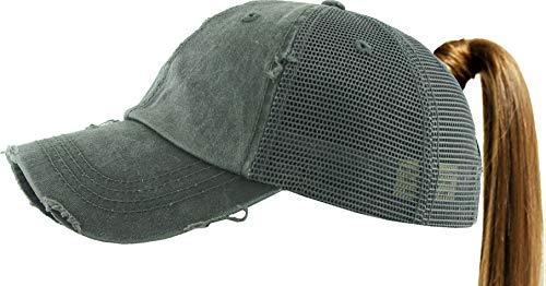 (KBETHOS PONY-002M DGY Ponytail Messy High Bun Adjustable Mesh Trucker Baseball Cap)