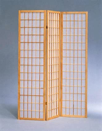The Furniture Source 3 Panel Natural Color Wood Shoji Screen Room Divider, Natural