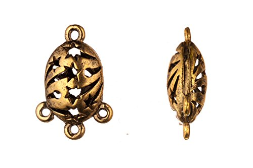 Oval with shooting star cut out antique-gold finished connector charms 3 bottom loops 16x24mm Sold per pack of 4pcs (2pack bundle), SAVE $1