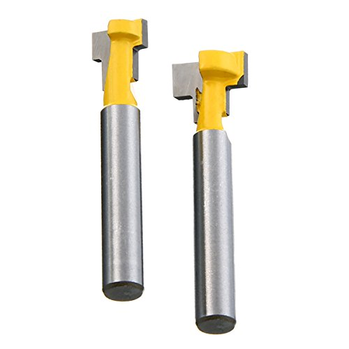 (2Pcs 1/4'' Shank T-Slot Cutter Steel Handle 3/8'' & 1/2'' Length Router Bits For Woodworking Tools)