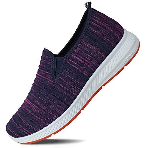 Hawkwell Women's Flat Knit Twin Gore Slip-On Walking Sneaker,Purple Knit,8 M US ()