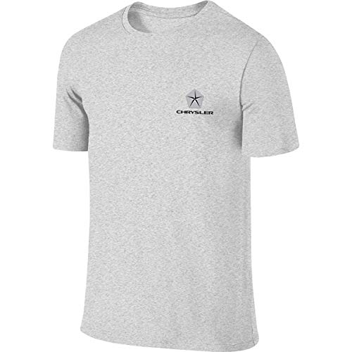 CharmKAT Chrysler Logo T-Shirts Novelty Funny Short Sleeve Tee T-Shirts for Mens,Gray O-Neck Tees Tops
