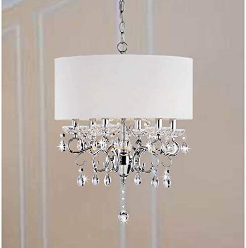 Allured Crystal Chandelier Solid White Shade