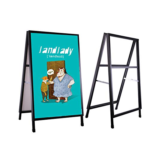 Bracket Outdoor Large (Outdoor Advertising Display Stand A-Frame Sidewalk Sign Outdoor Advertisement Use Double-Sided Display Heavy Base Bracket with Two Corrugated Plastic Poster Boards Sign Stand (Black, 24x36inches))