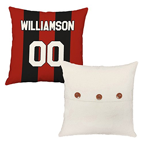 Set of 2 RoomCraft Custom Soccer Jersey Throw Pillows 20x20 Square White Indoor-Outdoor Cushions by RoomCraft