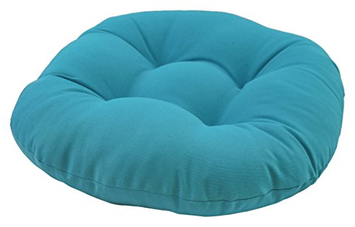 Blazing Needles Solid Twill Round Footstool Cushion, 18