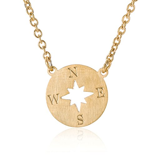 HUAN XUN Gold Compass Necklace Direction of Life & I'd Be Lost Without You, 16