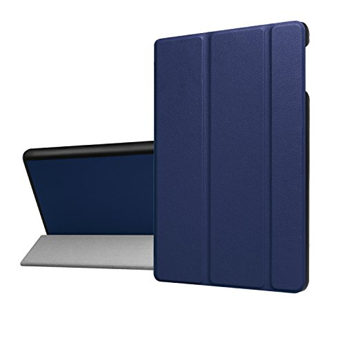 Suntechor Case For Amazon Kindle Fire HD 8 Tablet 7th Generation 2017 Release/6th Gen 2016 Standing Folding Protective Leather Folio Cover Auto Wake/Sleep (Blue)