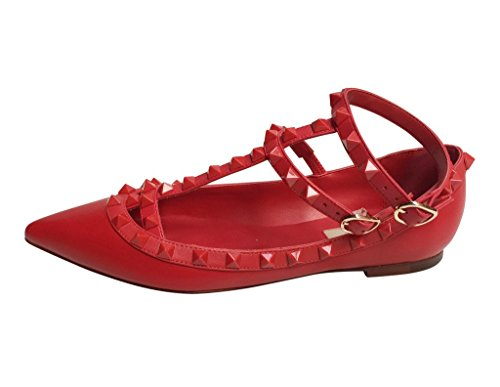 Kaitlyn Pan Pointed Toe Con Tachuelas Strappy Caged Bailarina De Cuero Flats Red Matte / Red Trim / Red Studs