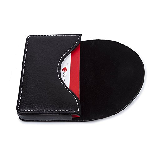 - Leather Business Name Card Holder Case Wallet Credit Card Book with Magnetic Shut Black