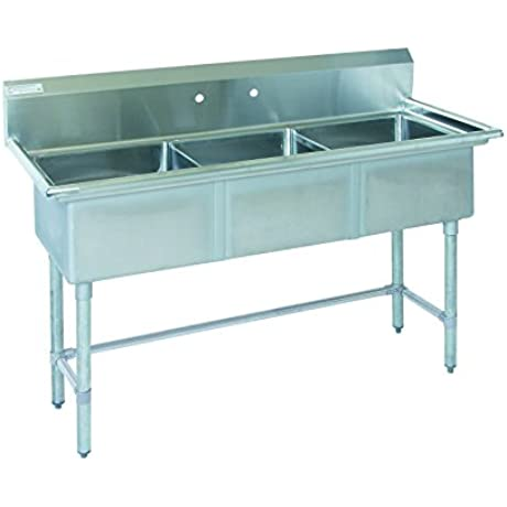 Tarrison CDS318 16 Heavy Duty 16 Gauge Stainless Steel Triple Compartment Corner Drain Sink With Leg Brace 60 Length X 36 47 Height X 27 1 4 Depth
