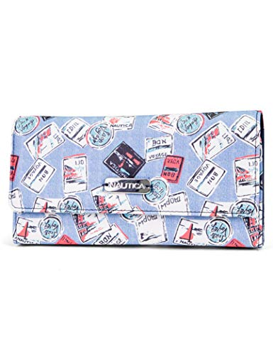 Nautica Money Manager RFID Women's Wallet Clutch Organizer (Bon Voyage Stamp)