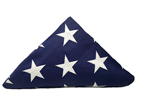 Display Flag Memorial Day (PRE-FOLDED Premium US Memorial Flag, 5' x 9.5' MADE IN THE USA with fully Embroidered Stars and Sewn Stripes by Tillery Innovations. For US Veterans, Internment, Flag Ceremony, Memorial Day)