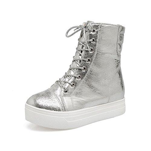 AdeeSu Womens Bandage Platform Leather Boots SXC02624 Silver qt1mqk