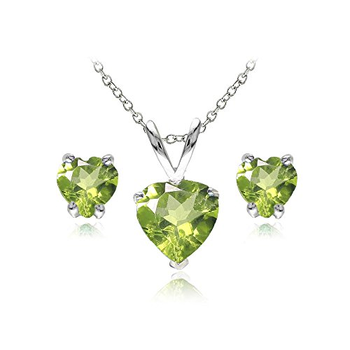 GemStar USA Sterling Silver Peridot Heart Solitaire Necklace and Stud Earrings Set ()