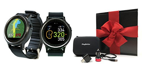 Golf Buddy WTX Golf Smartwatch Gift Box Bundle | Includes Golf GPS Smartwatch, PlayBetter USB Car & Wall Charging Adapters, Hard Protective Case | Black Gift Box, Red Bow by PlayBetter