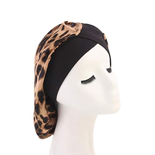 DuoZan Women's Soft Silky Satin Turban Elastic Wide Band Satin Bonnet Night Sleep Hat Hair Loss Cap (Leopard -