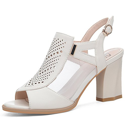 Party De Hollow Dress Shoes Mid De Peep Beige Tacón Toe Alto Chunky Slingback Wedding Las Prom Evening Sandalias Mujeres RCx60qS