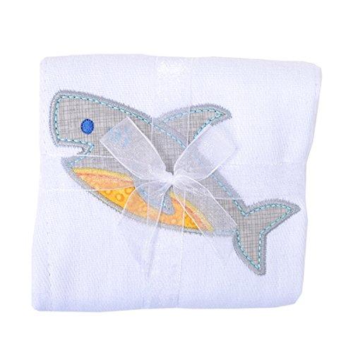 3 Marthas Boutique Applique Burp Pad Cloth (Shark Smiles)