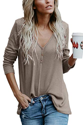 Yidarton Womens Waffle Knit Tunic Blouse Tie Knot Henley Tops Loose Fitting Bat Wing Plain Shirts (Z-Coffee, X-Large)