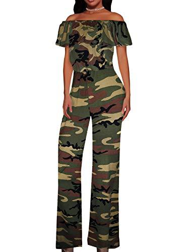 Hybrid & Company Women High Waist Wide Leg Pants Jumpsuit Romper KPVJ47696 10188 Camouflage M