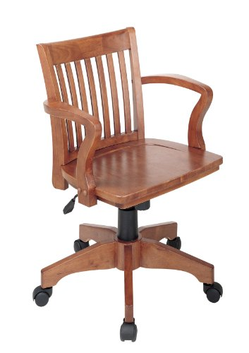 (Office Star Deluxe Wood Bankers Desk Chair with Wood Seat, Fruit Wood)